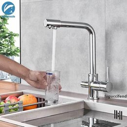 led kitchen taps spout Canada - Chrome Kitchen Faucet Dual Swivel Spout Drinking Water Filter Brass Purifier Vessel Sink Mixer Tap Hot and Cold Water Torneira T200424
