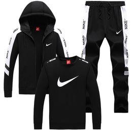 Wholesale men slim fit tracksuit resale online – Men Tracksuit Set Zipper Hoodies Pants Male Tracksuit Men s Casual Slim Fit Sportswear Male top Sweat