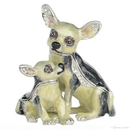 pet figures UK - Chihuahua Dog Trinket Box Pewter Handmade Jewelry Box Dog Figures Gifts for Pet Lovers