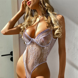 Wholesale Lace Womens Sexy Panties Deep V Neck Light Purple Jumpsuits Casual Grenadine High Waist Woman Lingeries Set