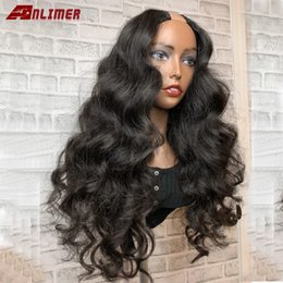 brazilian virgin hair u part wigs UK - 180% Density U Part Wigs Body Wave Middle Part 1*4'' U Part Human Hair Wigs For Women Brazilian Remy Hair Natural Color Anlimer