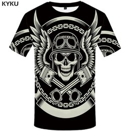 mens clothing rock Australia - KYKU Skull T Shirt Men Black Tshirt Feather 3d Print T-shirt Punk Rock Clothes Anime Hip Hop Mens Clothing Casual Tops