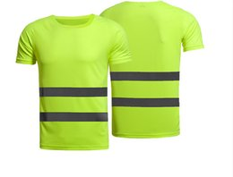 Wholesale engineering t shirt online – design Reflective T shirt Construction Site Engineering Building Fluorescent Short Sleeve T Cycling Outdoor Safety tshirt Clothes Can Be Printed