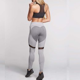 drop ship sports clothes Australia - Casual Heart Pattern Mesh Splice Leggings Harajuku Athleisure Fitness Clothing Elastic Sporting Leggings Women Pants Drop Shipping