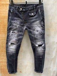 Wholesale size 38 slim fit jeans for sale – denim Mens Jeans Hip Hop Pants Stylist Jeans Distressed Ripped Biker Jean Slim Fit Motorcycle Denim Jeans Size