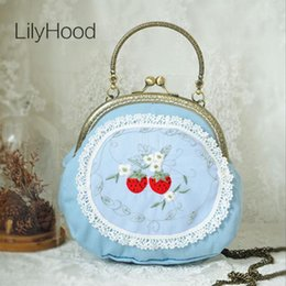handbags blue Canada - LilyHood 2020 Handmade Girly Cute Blue Lolita Small Shoulder Bag Female Girl Cossplay Inspired Dirndl Candy Color Round Handbag