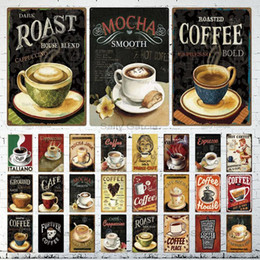 vintage coffee tin signs NZ - Coffee Tin Sign Vintage Metal Sign Plaque Metal Vintage Wall Decor For Kitchen Coffee Bar Cafe Retro Metal Posters Iron Painting