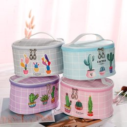 wholesale round cosmetic bag UK - pu cosmetic storage Cosmetic travel personalized Plaid printing large capacity travel wash bag cartoon bucket round new storage bag
