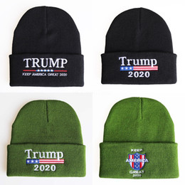 fall apparel NZ - Headwear Knitted Hat Outdoor Acrylic Men Women Cap Winter Apparel Embroidered Warm Letter Elastic Beanie Ffy For Trump 2020 DGIph#232