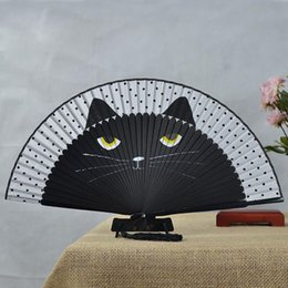 hand fans japanese NZ - Japanese Silk Hand Fan Painted Cartoon Cat Folding Fan Kawaii Pocket Fan Wedding Party Favors Decorations Supplies Creative Gift ZA2848