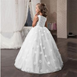 Discount long evening gowns for kids Flower Wedding Dress White First Communion Formal Long Lace Princess Prom Dress Long Gowns Kids Evening Formal for Weddi