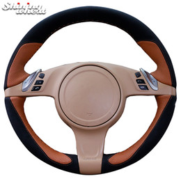 porsche cover UK - Shining wheat Black Suede Brown Leather Car Steering Wheel Cover for Porsche Cayenne Panamera 2010 2011