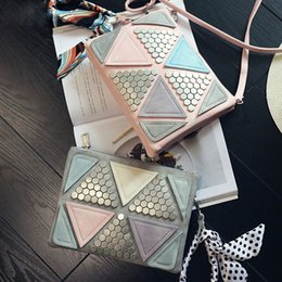 triangle candy bags UK - Candy Color Women Geometric Leather Handbags Patchwork Triangle Sequined Teenage Girls Wristlets Crossbody Bag Clutch With Ribbon