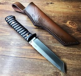tanto point knife Canada - Hot Sale! Survival Staight Knife DC53 Satin Tanto Point Blade Full Tang Wood Handle Fixed Blade Knives With Leather Sheath