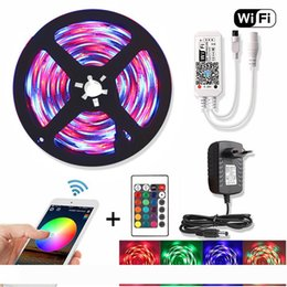 rf controller wifi UK - 5M WiFi RGB LED Strip Waterproof 2835 DC 12V Diode Tape Flexible Neon Ribbon Led Lights Strips RF Remote Controller+Adapter Plug