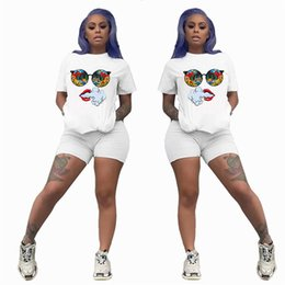 bowling tee shirts Australia - Women Summer White Lip Printed two piece Set Sports suit fashion casual jogging suitShort Sleeve suits Tee shirt+Shorts Outfits 3227