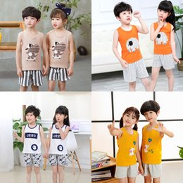 wholesale cat suits UK - 2020 Summer new cotton vest new boys' and girls' cartoon cotton casual sleeveless children's vest suit