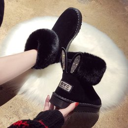 boots real fox Canada - Ankle boots for women Women Boots Genuine Leather Real Fox Fur Brand Winter Shoes Warm Black Round Toe Casual Female Snow
