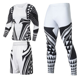 Wholesale superhero suits resale online - Compression Tracksuit Male Sport Suit Quick Dry Running Set Bodybuilding Jogging Training Gym Fitness Clothes Men Superhero Sportswear