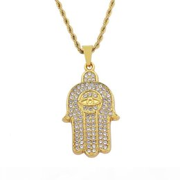 protection pendants NZ - I Hip Hop Hamsa Hand Of Fatima Lucky Evil Eye Protection Amulet Crystal Pendant Necklace 24inch Rope Chain