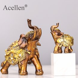 carved stone figurines Canada - Lucky Feng Shui Wood Grain Elephant Statue Sculpture Wealth Figurine Gift Carved Natural Stone Home Desktop Decoration T200624