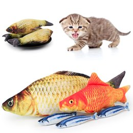 wholesale stuffed animal cat Australia - Pet Cat Toys Soft Plush 3D Fish Shape Cat Toy Gifts Catnip Fish Stuffed Pillow Doll Simulation Kitten Playing Toy Pet Product