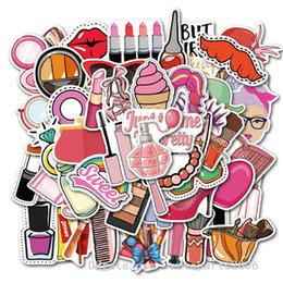 personalized makeup mirror 2021 - 50pcs Lot Wholesale Cure Girl Makeup Graffiti Pattern Stickes Bulk sticker Helmet Skateboard Luggage Car Decals
