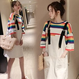 rainbow maternity dress UK - haj25 clothes Summer 2020 new Korean style fashionable denim suspender skirt rainbow T-shirt loose Suspender skirt dress Maternity clothes