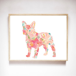 Wholesale Watercolor Dog Frenchie Art Canvas Painting Wall Pictures , French Pet Bulldog Canvas Art Prints And Poster Home Kids Room Decor