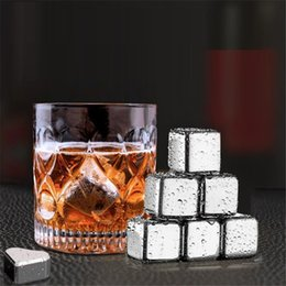 whiskey ice stones Canada - Hot sell Metal ice tartar Cooler Stone Stainless steel whiskey stone Ice Cubes Whiskey Rocks Creative bar tools 8pcs stone+1clip T9I00470