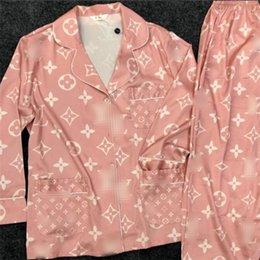 Großhandel Sommer Neueste Frauen Luxus Nachtwäsche Retro Printed Lady Ice Silk Pyjama Set-Partei-Bankett Casual Weibliche Heim Kleidung