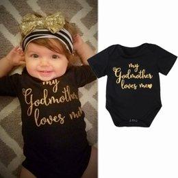 Wholesale kids sizes clothes for sale – custom Newborn Baby Kids Boys Girls Clothes Infant Cotton Jumpsuit Bodysuit Outfit Set Godmother Love Me DONT CHOOSE SIZE M