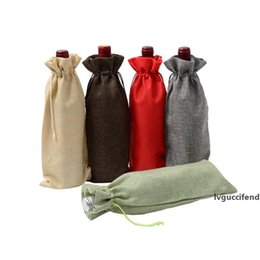 gift paper bottle bags NZ - Jute Wine Bottle Covers Champagne Wine Packaging Gift Bags Rustic Christmas Wedding Dinner Table Decoration 15x35cm
