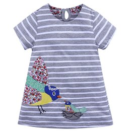 baby kids frocks wholesale UK - Short Sleeve Girls Dresses Cotton Applique Birds Baby Clothes Fashion Kids Stripe Costume Princess Stripe Girls Dress Baby Frock