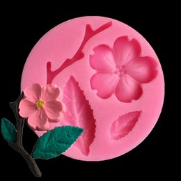 cheese boards UK - Sugar peach blossom branch Chocolate mould cake mould liquid silicone mold cake baking tool chocolate clay mold