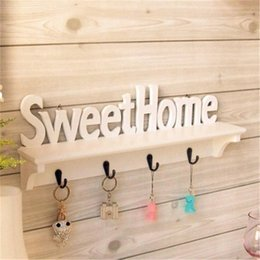 hats words UK - 1Pc Sweet Home Words 4 Hooks Shelves Hat Key Holders Storage Shelf Hanging Hooks Wall Mounted Rack Home Storage Holder Y200429