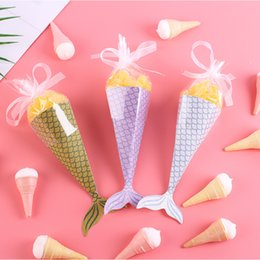 sweet tubes NZ - Candy Case Sweet Tube Mermaid Silk Ribbon Creative Idea New Style Storage Container Children Birthday Party Sugar Box Sell Well 0 46bd p1