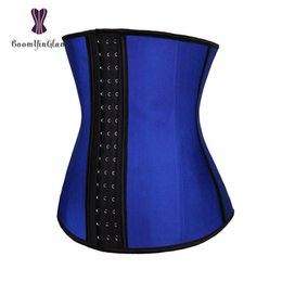 plus size steel boning corset Australia - Plus Size 3 Hooks 9 Steel Boned Slimming Belly Belt Cincher Women Shaper Corset Latex Waist Trainer 2840# MX200711