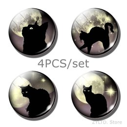 refrigerator cute stickers Canada - Cat Fridge Magnet Cute Animal Refrigerator Magnets 4PCS set Glass Cabochon Message Refrigerator Decoration Sticker Home Decor
