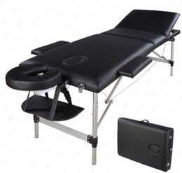 MICHEN 1PC 3 Sections Folding Aluminum Tube SPA Bodybuilding Massage Table Kit Black on Sale
