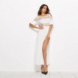 Wholesale white midi fashion dresses resale online – 2020New Lace Mesh Split Solid Color Dresses Nightclub Fashion Solid Color Satin Backless Nightclub Dresses