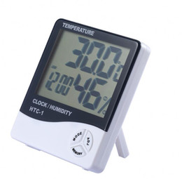 HTC-1 LCD Digital Temperature Hygrometer Clock Humidity Meter Home Indoor Outdoor hygrometer thermometer Weather Station with Clock on Sale