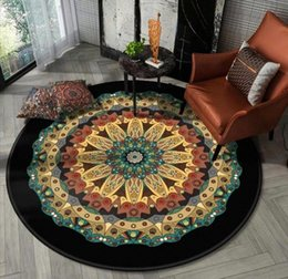living room chairs home UK - DeMissir Posimi Flower Printed Round Rugs Carpets For Home Living Room Bedroom Chair Non Slip Floor Mat Diameter 40 To160cm 5B9h#