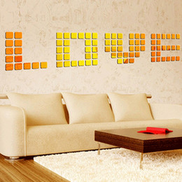 modern mirror 3d wall stickers UK - 100PCS lot DIY 3D Mirror Acrylic Mural Wall Stickers Mosaic Mirror Effect Room Square Home Decor Stickers 2x2cm
