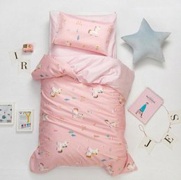 cotton baby bedding sets UK - 3Pcs Cute Animal Cotton Crib Bed Linen Kit Cartoon Baby Bedding Set Includes Pillowcase Bed Sheet Duvet Cover Without Filler JBjW#
