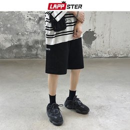 mens black khaki shorts Australia - LAPPSTER Men Black Cotton Cargo Shorts 2020 Summer Mens Kpop Harajuku Streetwear Hip Hop Joggers Male Black Khaki Sweat Shorts