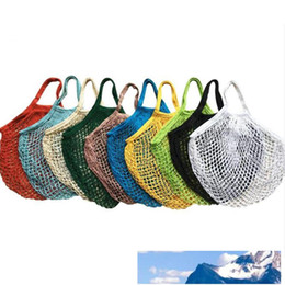 hand bag dhl Australia - Fashion String Shopping Fruit Vegetables Grocery Bag Shopper Tote Mesh Net Woven Cotton Shoulder Bag Hand Totes Home Storage Bags Free DHL