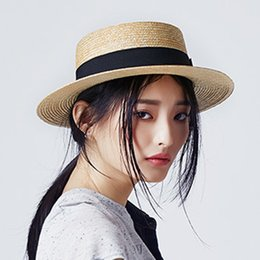 homburg hats NZ - 100% Wheat Straw Summer Women Boater Beach Sun Hat For Elegant Lady Queen Fashion Bowknot Round Top Flat Homburg Fedora Caps Y200619