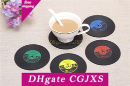 bar tables black NZ - 4 Colors Creative CD Cup Mat Retro Vinyl Coasters Non Slip Vintage Record Cup Pad Home Bar Table Decor Coffee Mats