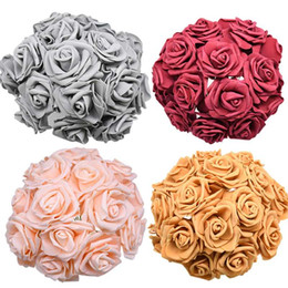 orange white roses bouquet Australia - 24 48pcs 7cm Artificial Flower Bouquet PE Foam Rose Fake Flowers For Wedding Birthday Party Decor Supplies Valentine's Day Gifts
